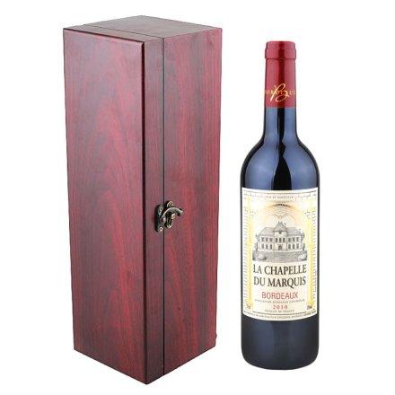 法国男爵小教堂波尔多干红+红木礼盒