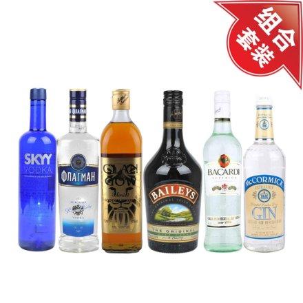 深蓝伏特加+旗舰伏特加700ml+克兰格威士忌+百利甜酒+百加得超级朗姆酒+麦克美金酒