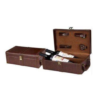 棕色双支皮盒