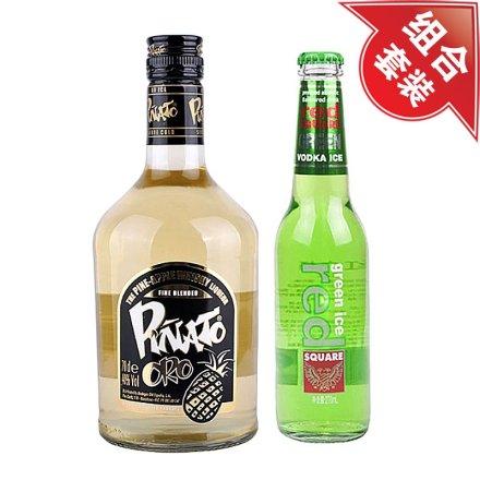 (清仓)40°金碧纳托菠萝威士忌利口酒+红广场绿冰预调酒(青柠味)