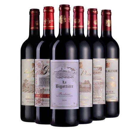 法国AOC六大干红葡萄酒套装