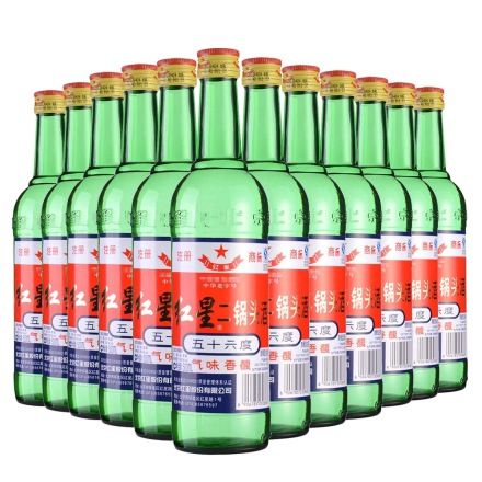 56°红星二锅头(大二)500ml (12瓶装)