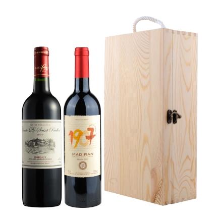 法国AOC干红葡萄酒双支礼盒