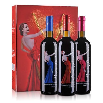 法国法莱雅天使74橡木桶窖藏红葡萄酒750ml*3礼盒
