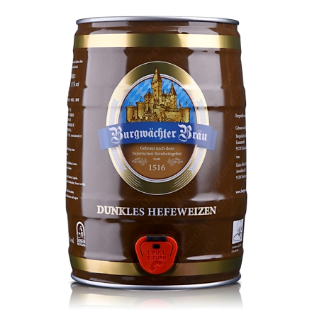 德国欢伯勃朗原浆小麦黑啤酒5L