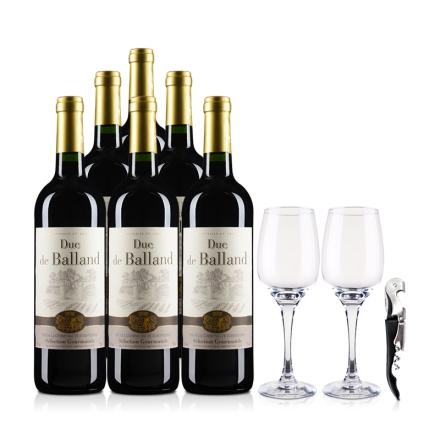 法国巴朗德公爵干红葡萄酒750ml*6(酒杯酒刀)