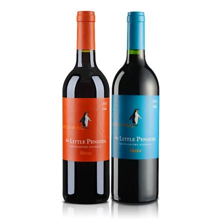澳大利亚小企鹅设拉子红葡萄酒750ml+澳大利亚小企鹅梅洛红葡萄酒750ml