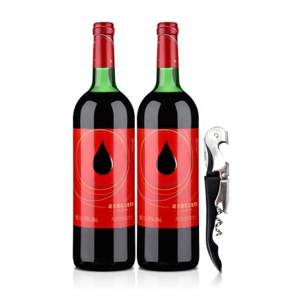 中国通天红色时代甜红山葡萄酒1000ml(双瓶套装)+通天酒刀