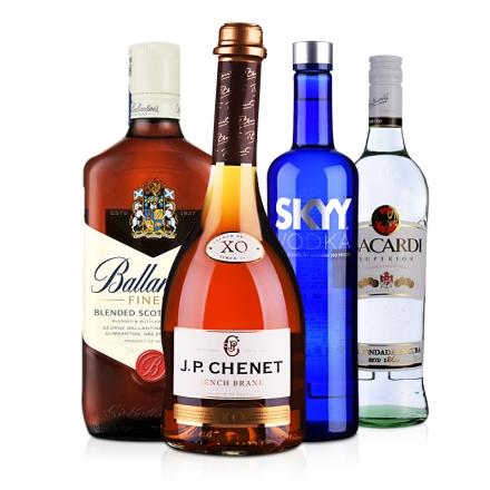 四大鸡尾酒基酒套餐 伏特加 威士忌 白兰地 朗姆酒