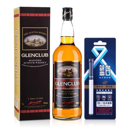 40°英国格兰俱乐部苏格兰威士忌1000ml+蓝白科技电子烟单支即抛装·烤烟型原叶香