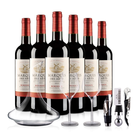 法国波尔多AOC美意爵干红葡萄酒品酒大礼包