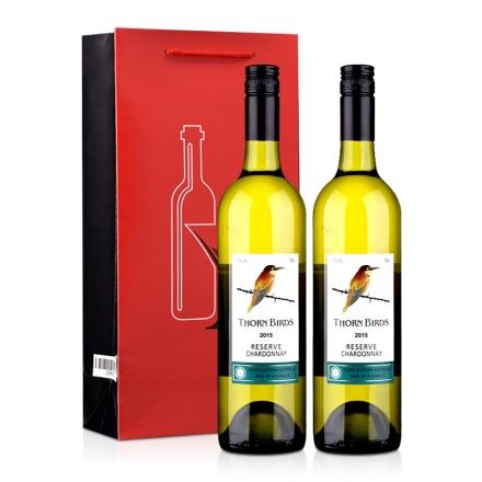 【红酒特卖】澳大利亚朗翡洛荆棘鸟莎当妮干白葡萄酒750ml*2+精美双支礼品袋