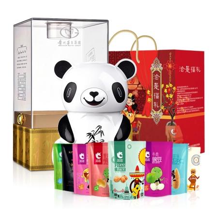 52°茅台集团经典品位熊猫酒500ml+洽是福礼·坚果炒货礼盒1430g