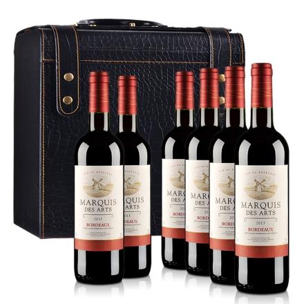 法国波尔多AOC美意爵干红葡萄酒6支鳄鱼纹皮盒装