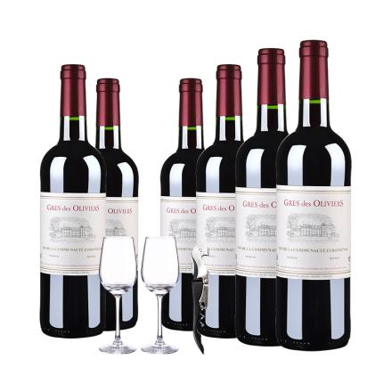 【百元好酒】法国原瓶进口葛雷奥利干红葡萄酒750ml(6瓶套)酒杯酒刀